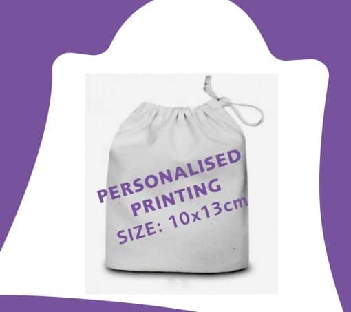 10x13cm white cotton drawstring bag with ribbon and personalisation