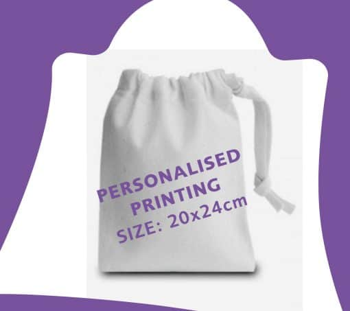 20x24cm white cotton drawstring bag with ribbon and personalisation