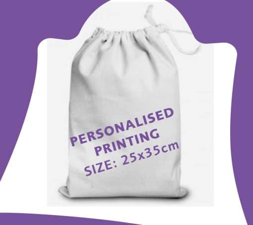25x35cm white cotton drawstring bag with ribbon and personalisation